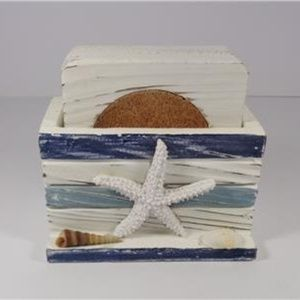 Other - SEASHELLS COASTAL WHITE & BLUE WOOD 5 PC COASTER